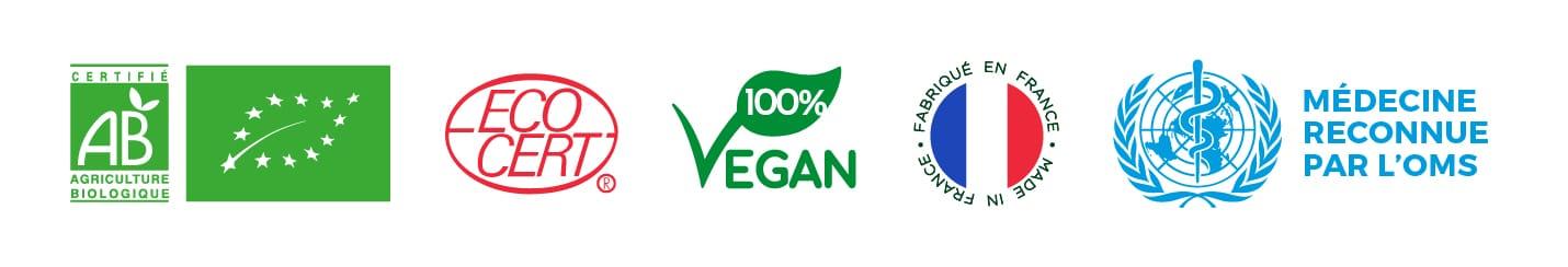 logos et certifications bio, vegan, fabriqué en france